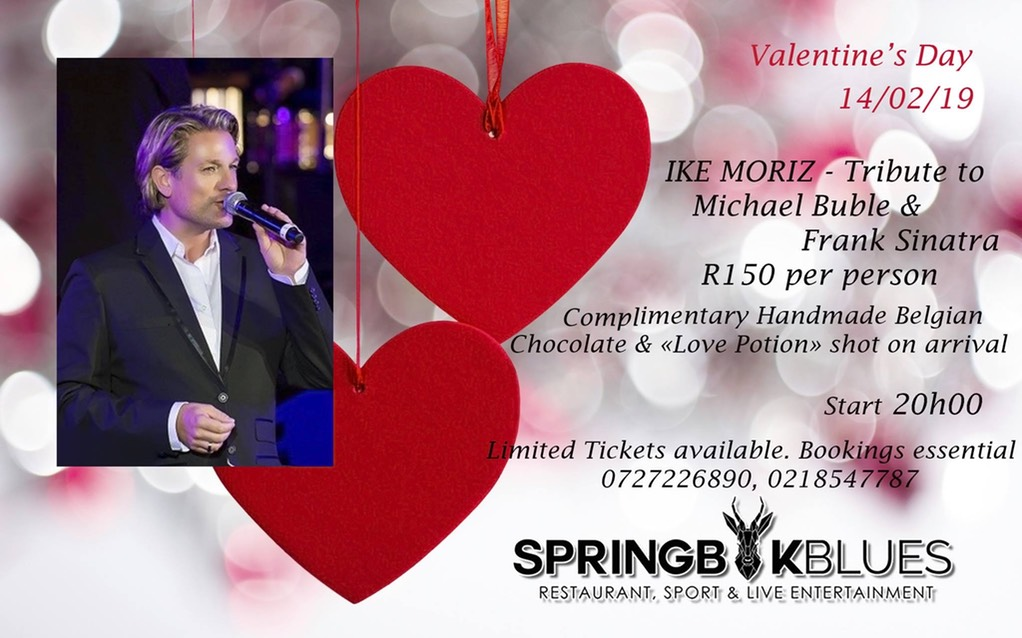 Ike Moriz Valentines Day concert Strand Helderberg Somerset West swing jazz Sinatra Bublé Simone rat pack tribute hits springbok blues restaurant romantic wonderful evening show love swings