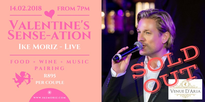 Valentine's Dinner dance Ike Moriz food music and wine pairing D'Aria Durbanville wine estate function venue crooner love swing valentine dinner